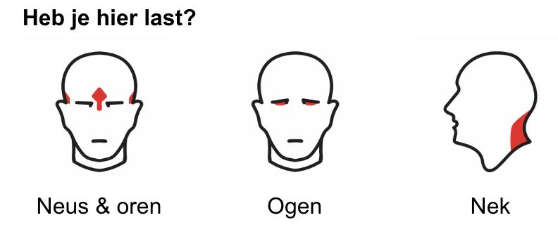 Afbeelding van pijnpunten wanneer de bril niet goed zit. Bijvoorbeeld; Neus & oren, ogen en de nek.
